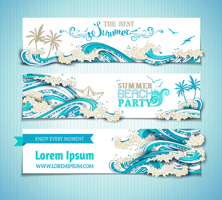 Vector set of sea/ocean horizontal banners. Bright hand-drawn illustration. The best summer. Summer beach party. There is place for text on white background. Seagulls, palms, paper ship and waves.