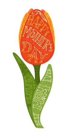 red tulip: Happy Mothers Day! Best Mom ever. I love you. Vector hand-written lettering. Spring tulip flower isolated on white background. Design element for cards, invitations, congratulations and posters.