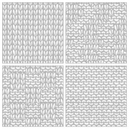 stitch: Seamless knitting textures set. Basic knitting stitch. Garter stitch. Plain stitch, reverse side. Basketweave Stitch. Box Stitch.