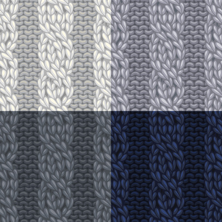 boundless: Vector seamless knitted pattern. Vector four-stitch cables, twisting to the left. C4F. Vector high detailed stitches. Boundless background can be used for web page backgrounds and wallpapers.