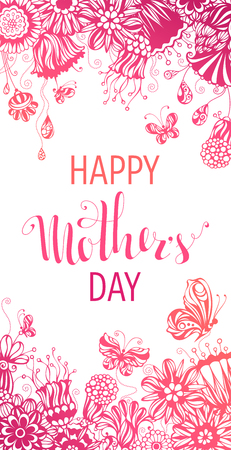 Happy Mothers Day! Pink hand-drawn background. Vector template. There is place for your text in the center.
