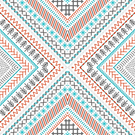 boundless: Vector high detailed stitches. Ethnic boundless texture. Red, blue, grey and white. Can be used for web page backgrounds, wallpapers, wrapping papers and invitations. Illustration