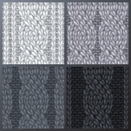 boundless: Vector seamless knitted pattern. Twisting to the left cables. Rope cables. Vector monochrome stitches. Boundless background can be used for web page backgrounds and invitations.