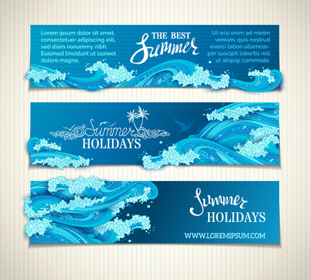 Vector set of sea/ocean horizontal banners. Bright decorative illustration. Hand-written lettering. There is place for text on dark blue background. Seagulls, palms and waves.
