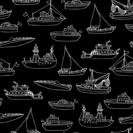 nautical vessels: Chalk seamless marine pattern. Doodles chalk nautical vessels on blackboard boundless background. Lightship, fireboat, fishing trawler, speedboat, sailboat and motorboat.