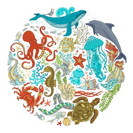 Círculo conjunto de vectores de animales sealife de dibujos animados sobre fondo blanco. Ballenas, delfines, tortugas, peces, estrellas de mar, cangrejos, conchas, medusas, pulpos, algas. La vida submarina. Ejemplo colorido de dibujos animados.