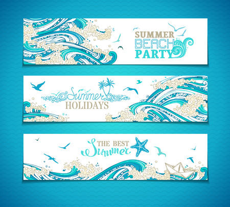 wet flies: Vector set of seaocean horizontal banners. Paper ship, starfish, seagulls and waves. Summer beach party. Summer holidays. The best summer. Bright decorative illustration. There is place for your text. Illustration