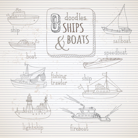 motorboat: Vector set of vintage doodles marine vehicles. Various hand-drawn ships and boats on old vintage striped background. Lightship, fireboat, fishing trawler, speedboat, sailboat and motorboat. Illustration