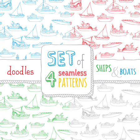 motorboat: Vector set of four seamless nautical patterns. Lightship, fireboat, fishing trawler, speedboat, sailboat and motorboat. Doodles ships and boats on white background. Boundless backgrounds.