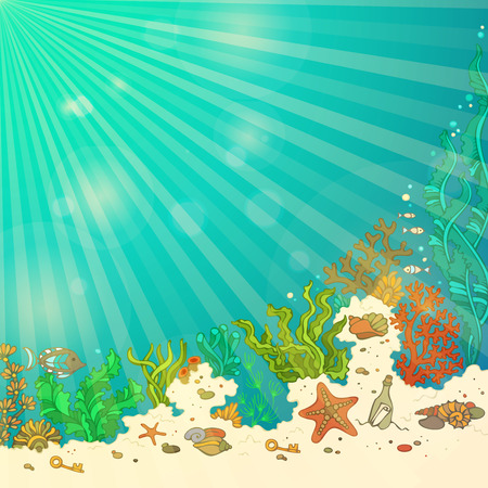 ocean background: Summer cartoon sea life background. Marine vector illustration. Fish, starfish, shells, algae, bottle with a letter and key. Underwater sunny rays. There is place for text on blue ocean background. Illustration