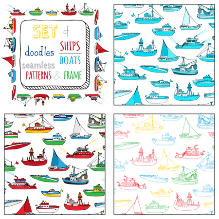 marine industry: Vector set of seamless marine patterns and frame. Lightship, fireboat, fishing trawler, speedboat, sailboat and motorboat. Doodles nautical vehicles on white background. Illustration