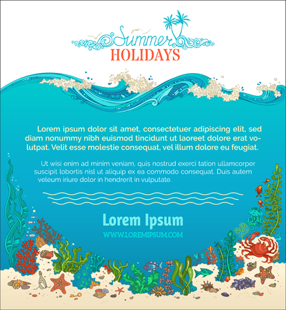 Summer underwater line background. Summer holidays. Bright vector illustration. Shell, algae, fish, starfish, jellyfish, mussels, crab. There is place for text on blue and white backgrounds.