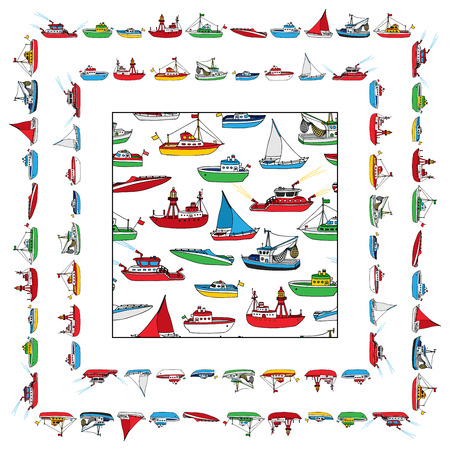 Vector set of seamless nautical pattern and frames. Lightship, fireboat, fishing trawler, speedboat, sailboat and motorboat. Cartoon ships and boats isolated on white background. Ilustrace