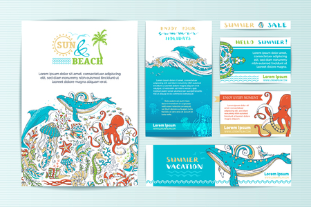 sealife: Set of corporate wild sealife templates. Vector cartoon elements. A4 paper, business cards, banners. Whale, dolphin, octopus, turtle, fish, starfish, crab, shell, jellyfish, octopus, seahorse, seaweed.