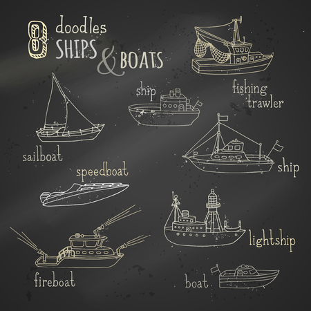 ships: Chalk lightship, fireboat, fishing trawler, speedboat, sailboat and motorboat. Various chalk nautical vessels on blackboard background.