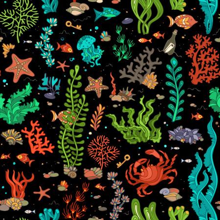 algae cartoon: Vector seamless pattern of wild ocean life. Cartoon summer vector illustration. Various shell, algae, fish, starfish, bottle with a letter, key on black background.