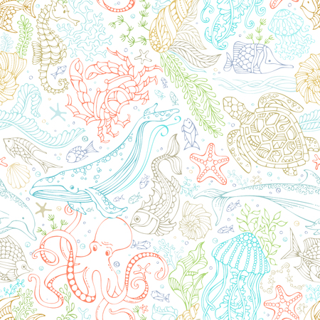 Vector seamless pattern of wild ocean life. Colourful contours of whale, dolphin, turtle, fish, starfish, crab, octopus, shell, jellyfish, seahorse, algae on white. Underwater sea animals and plants. Stock Illustratie