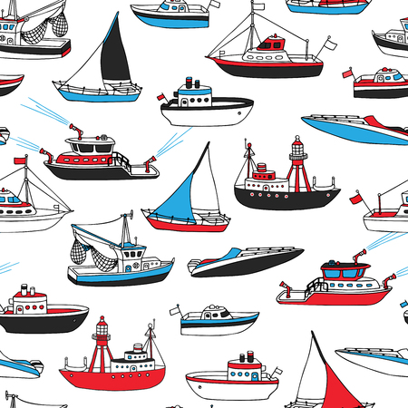 Vector seamless nautical pattern. Various cartoon nautical vessels on white background. Lightship, fireboat, fishing trawler, speedboat, sailboat and motorboat.