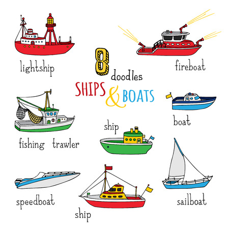 motorboat: Vector set of doodles ships and boats. Various hand-drawn nautical vessels isolated on white background. Lightship, fireboat, fishing trawler, speedboat, sailboat and motorboat. Illustration