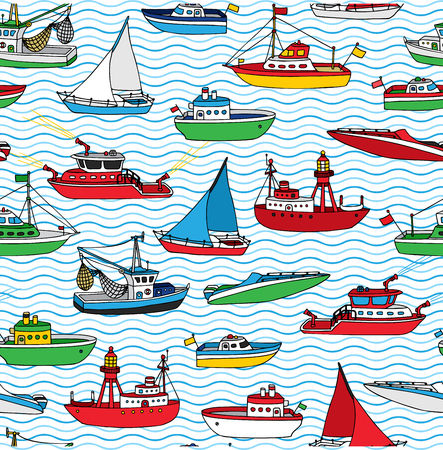 motorboat: Vector seamless nautical pattern. Lightship, fireboat, fishing trawler, speedboat, sailboat and motorboat. Hand-drawn ships and boats on waves background.