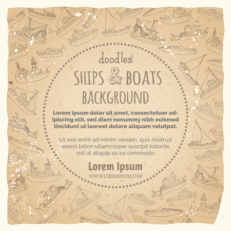 motorboat: Lightship, fireboat, fishing trawler, speedboat, sailboat and motorboat. Sketched nautical ships and boats on vintage paper background.