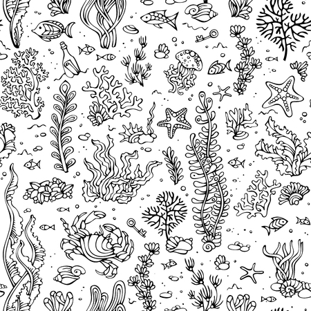 coloured background: Seamless summer pattern of sea life. Vector cartoon outlined illustration. Various black contours of shell, algae, fish, starfish, bottle with a letter, key on white background. Coloured book template.