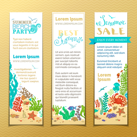 seastar: Vector set of doodles sea life vertical banners. Various fish, starfish, crab, shell, jellyfish, seaweed, bottle with a letter and key on the bottom. There is place for your text on white paper.