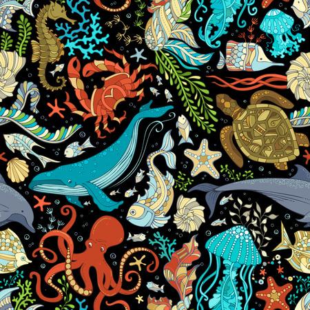 salvaje patrón transparente de vector vida marina. pulpo colorido, ballenas, delfines, tortugas, peces, estrellas de mar, cangrejo, concha, medusas, caballitos de mar, algas en el fondo negro. Submarino animales marinos y plantas. Ilustración de vector