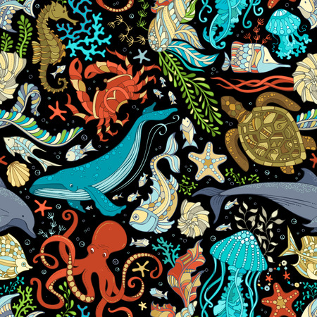 Vector seamless wild sea life pattern. Colorful octopus, whale, dolphin, turtle, fish, starfish, crab, shell, jellyfish, seahorse, algae on black background. Underwater ocean animals and plants.