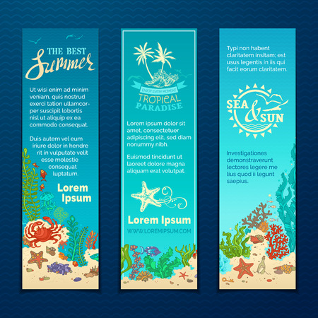 reef: Vector set of cartoon wild sea life vertical banners. Various fish, starfish, crab, shell, jellyfish, algae, bottle with a letter and key on the bottom. There is place for your text on blue background. Illustration