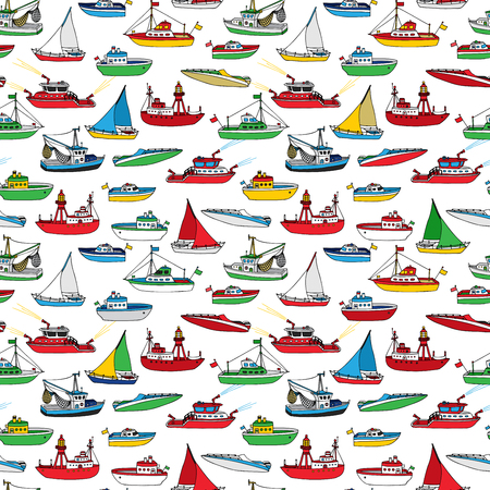motorboat: Colourful seamless marine pattern. Various hand-drawn nautical vehicles on white background. Lightship, fireboat, fishing trawler, speedboat, sailboat and motorboat. Illustration