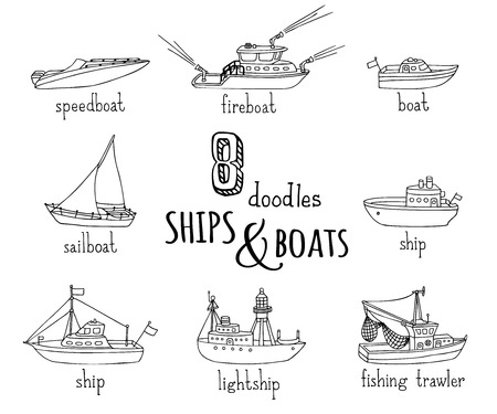 nautical vessel: Vector doodles nautical vessel icons set. Lightship, fireboat, fishing trawler, speedboat, sailboat and motorboat. Black ship and boat contours isolated on white background.