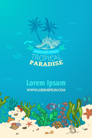 paradise place: Tropical marine background. Tropical paradise. Various shell, algae, fish, starfish, bottle with a letter and key on the bottom. There is place for text on blue marine background.