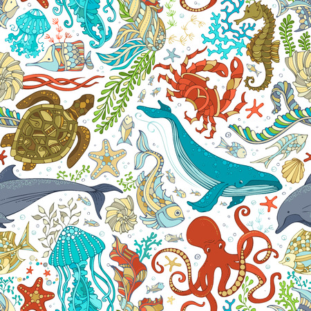 Vector seamless pattern of wild sea life. Cartoon octopus, whale, dolphin, turtle, fish, starfish, crab, shell, jellyfish, seahorse, algae. Underwater animals and plants.  イラスト・ベクター素材