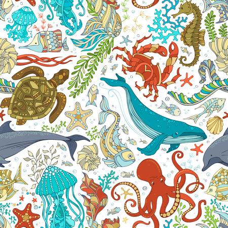 Vector seamless pattern of wild sea life. Cartoon octopus, whale, dolphin, turtle, fish, starfish, crab, shell, jellyfish, seahorse, algae. Underwater animals and plants. Vettoriali