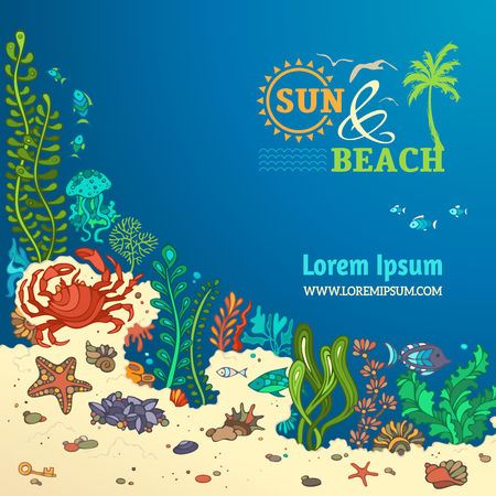 ocean background: Summer cartoon marine life background. Sea and beach. Various shell, algae, fish, starfish, jellyfish, mussels, crab. There is place for text on blue ocean background.