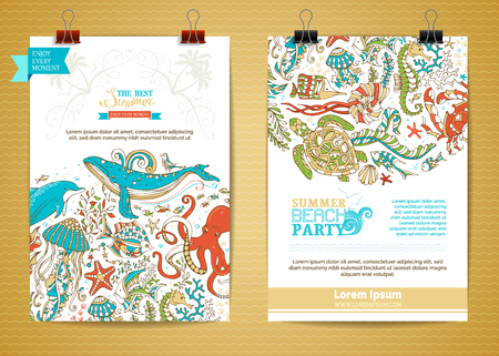 Vector set of two marine life poster templates. Underwater wild animals and plants. Whale, dolphin, turtle, fish, starfish, crab, octopus, shell, jellyfish, seahorse, seaweed.