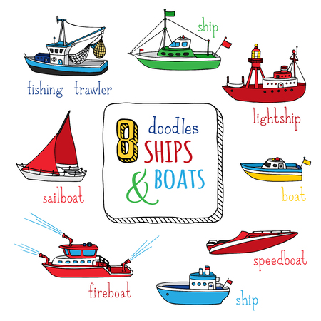 Vector set of doodles marine vessel icons. Various hand-drawn ships and boats isolated on white background. Lightship, fireboat, fishing trawler, speedboat, sailboat and motorboat. Illustration