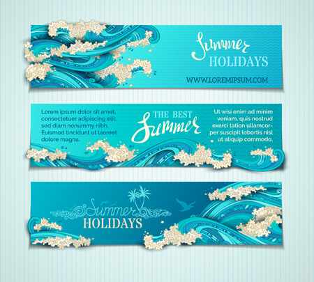 Vector set of seaocean horizontal banners. Bright decorative illustration. Hand-written lettering. There is place for text on blue background. Paper ship, seagulls and waves.