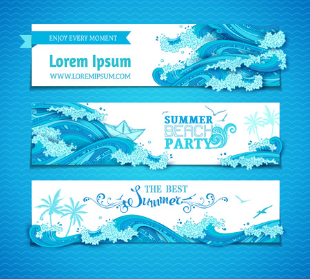 waves ocean: Vector set of seaocean horizontal banners. Bright decorative illustration. Summer beach party. The best summer. There is place for your text on white background.