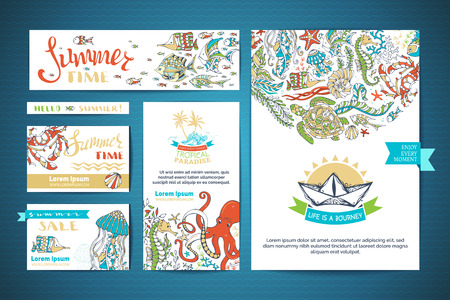 cartoon octopus: Set of corporate underwater ocean life templates. Vector hand-drawn elements. A4 paper, business cards, banners. Turtle, octopus, fish, starfish, crab, octopus, shell, jellyfish, seahorse, seaweed. Illustration