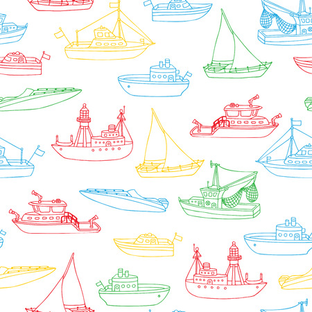 motorboat: Vector boundless marine background. Various doodles nautical vehicle contours on white background. Lightship, fireboat, fishing trawler, speedboat, sailboat and motorboat. Seamless pattern.