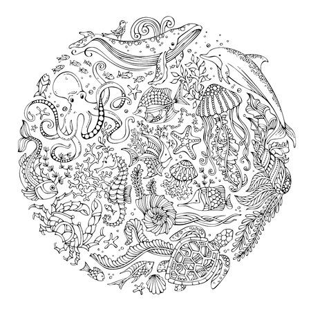 원 벡터 낙서 야생 해양 생물의 집합입니다. 고래, 돌고래, 거북이, 물고기, 불가사리, 게, 낙지, 쉘, 해파리, 조류의 윤곽. 수중 동물과 식물. 성인 템플 일러스트