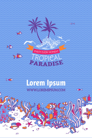key of paradise: Tropical paradise. Various shell, algae, fish, starfish, bottle with a letter and key on the bottom. There is place for text on violet marine background.