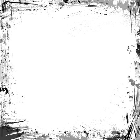 grunge frame: Vector grunge ink frame. Square frame of hand-drawn ink stains, flourishes and blots. There is place for your text on white background.