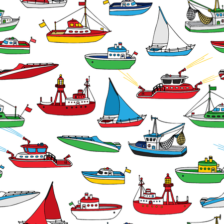 motorboat: Colourful seamless nautical pattern. Various hand-drawn ships and boats on white background. Lightship, fireboat, fishing trawler, speedboat, sailboat and motorboat.