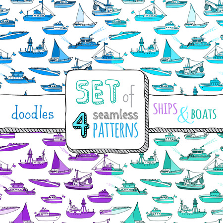 motorboat: Vector set of four seamless marine patterns. Cartoon ships and boats on white background. Lightship, fireboat, fishing trawler, speedboat, sailboat and motorboat. Illustration