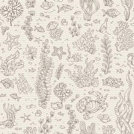 algas marinas: Modelo inconsútil de la vendimia bajo el agua. shell Vaus, algas, peces, estrellas de mar, botella con una carta, clave en el viejo fondo de la sepia de rayas. Ilustración del vector.