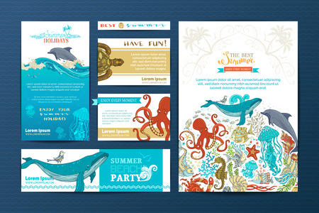 cockle: Corporate underwater wild life templates. Vector doodles design elements. A4 paper, business cards, banners. Whale, dolphin, turtle, fish, octopus, starfish, crab, shell, jellyfish, seahorse, seaweed.