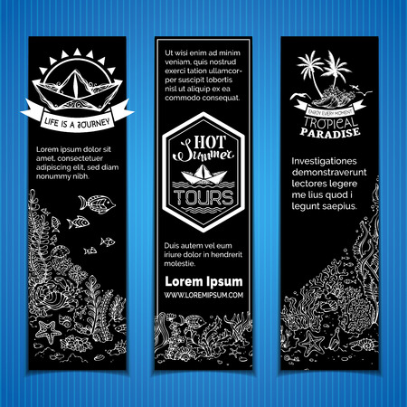 fish water: Vector chalk underwater life vertical banners. Contours of fish, starfish, crab, shell, jellyfish, seaweed on the bottom. There is place for your text on blackboard background.